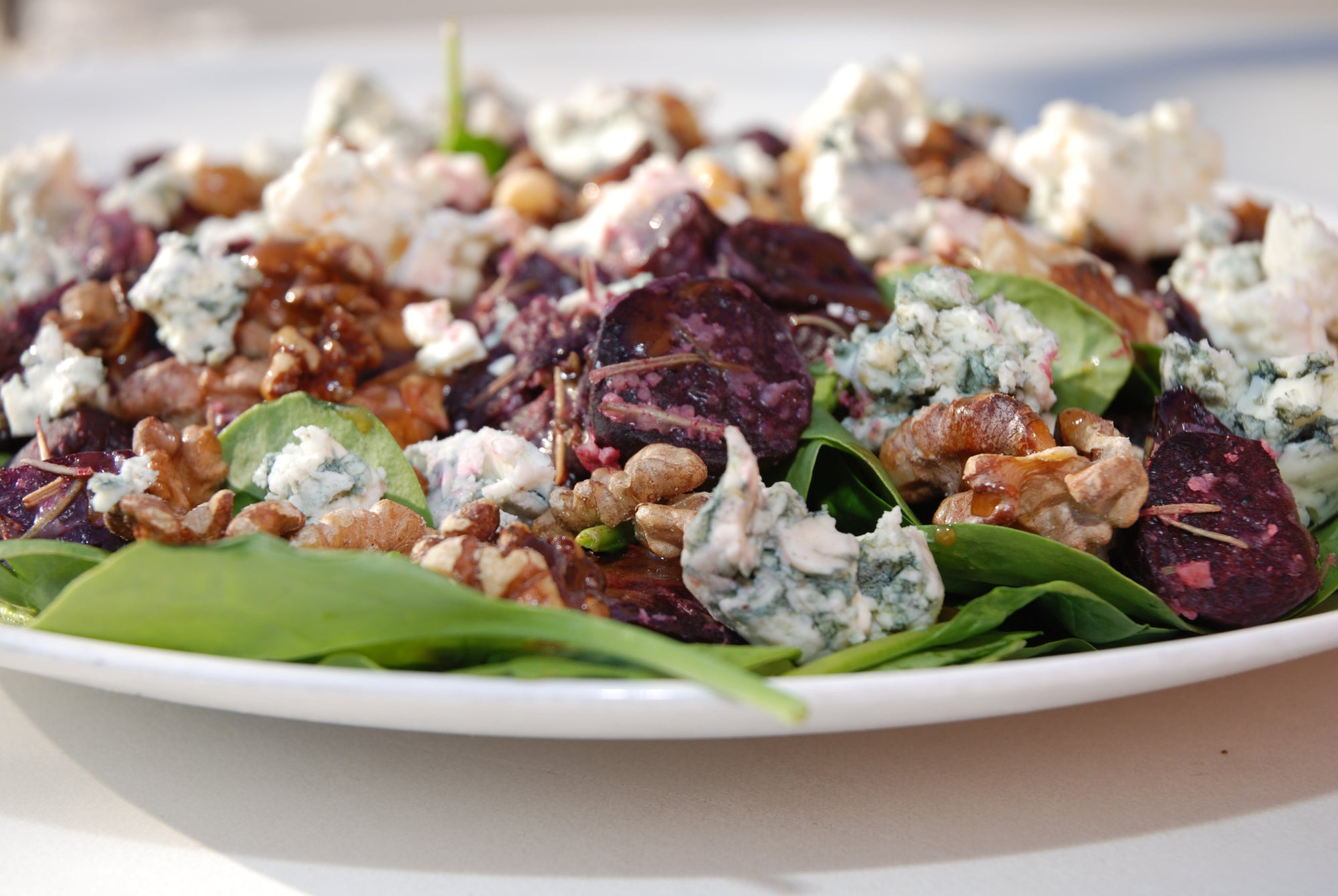 Roasted Beet and Blue Cheese Salad with Balsamic Dressing