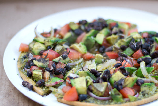 Skinny Avocado, Pesto & Black Bean Pizza