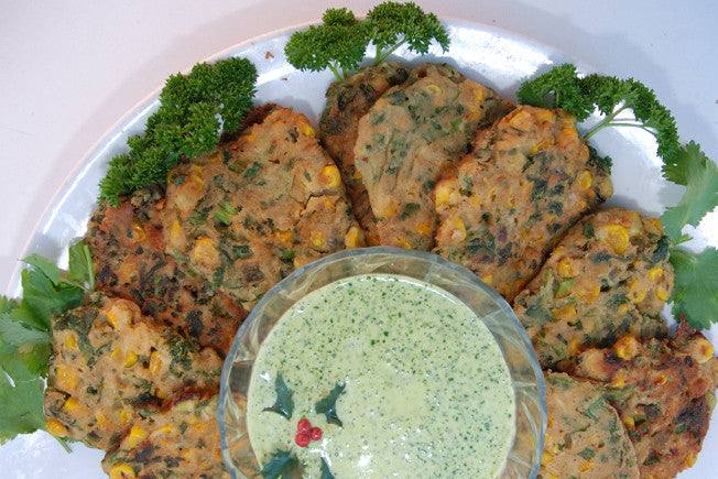 Thai Corn Fritters with Lime and Cilantro Aioli