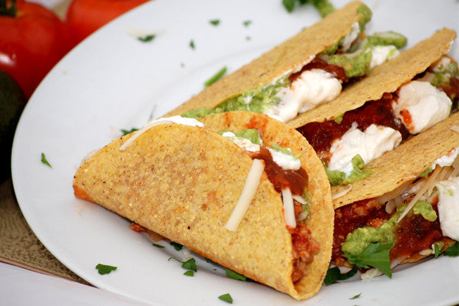 Mexican Turkey Tacos with Guacamole & Salsa