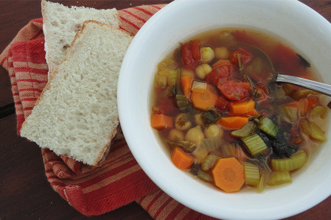 Tuscan Bean & Sausage Soup with Parmesan