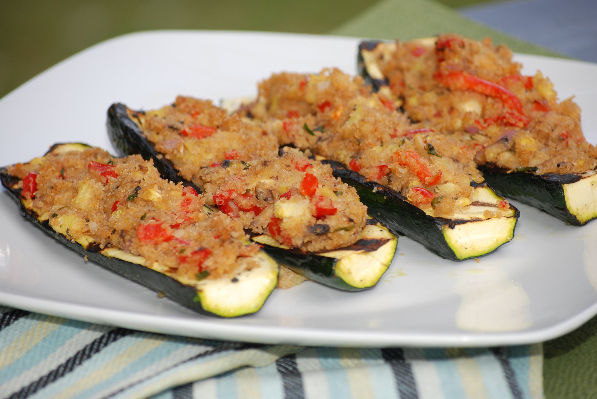 Grilled Gluten-Free Zucchini Boats with Goat Cheese