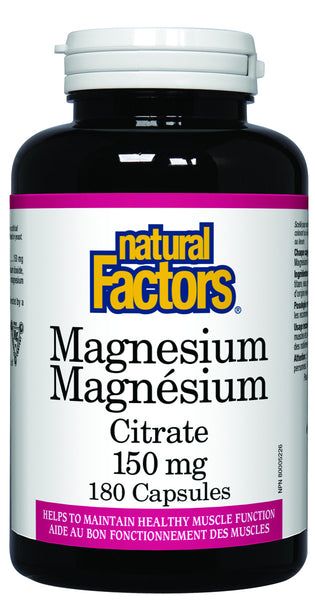 Natural Factors - Magnesium Citrate 150mg, 180 capsules - Goodness Me!