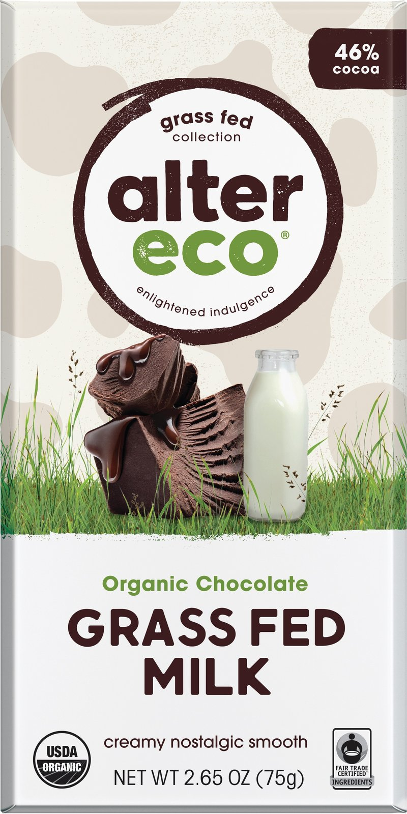 Alter Eco - Organic Milk Chocolate, Grass Fed Smooth, 75g