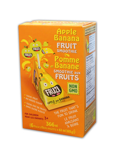Fruzi - Fruit Smoothie, Apple & Banana, 6 x 65g