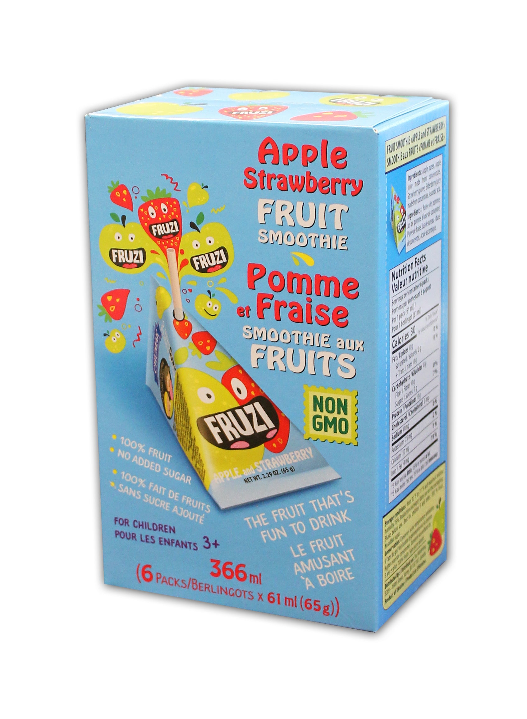 Fruzi - Fruit Smoothie, Apple & Strawberry, 6 x 65g