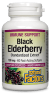 Natural Factors - Black Elderberry, 100mg, 60 softgels