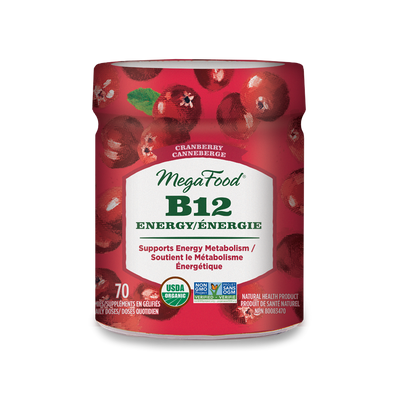 Mega Food -  Vitamin B12 Energy, Cranberry Gummy, 70 count