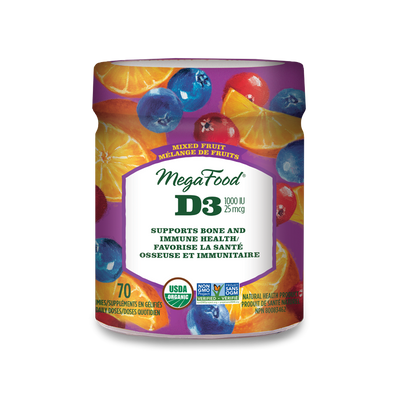 Mega Food - Vitamin D3 Wellness, Mixed Fruit Gummy, 70 count