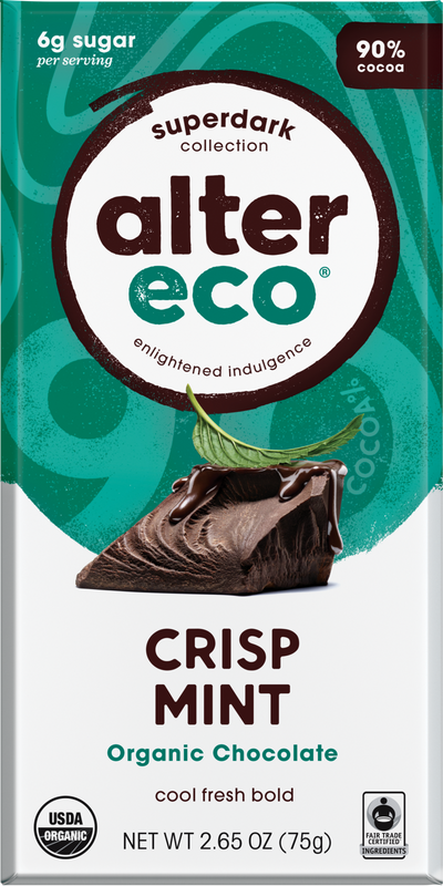 Alter Eco - Organic Dark Chocolate, Crisp Mint, 75g