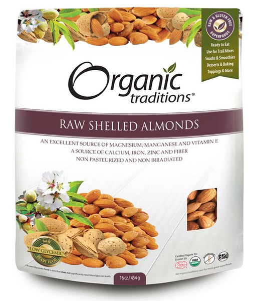 Organic Traditions - Raw Shelled Almonds, 454g - Goodness Me!