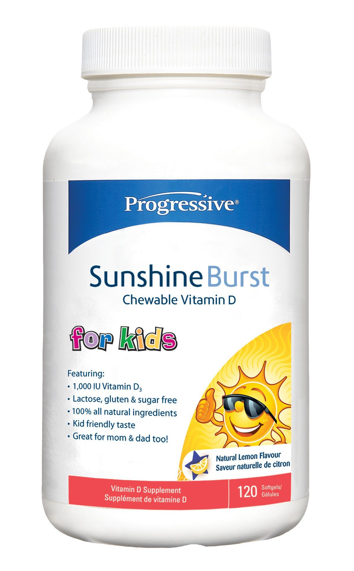 Baby & Kids - Progressive - Sunshine Burst Vitamin D For Kids, 120 Caps