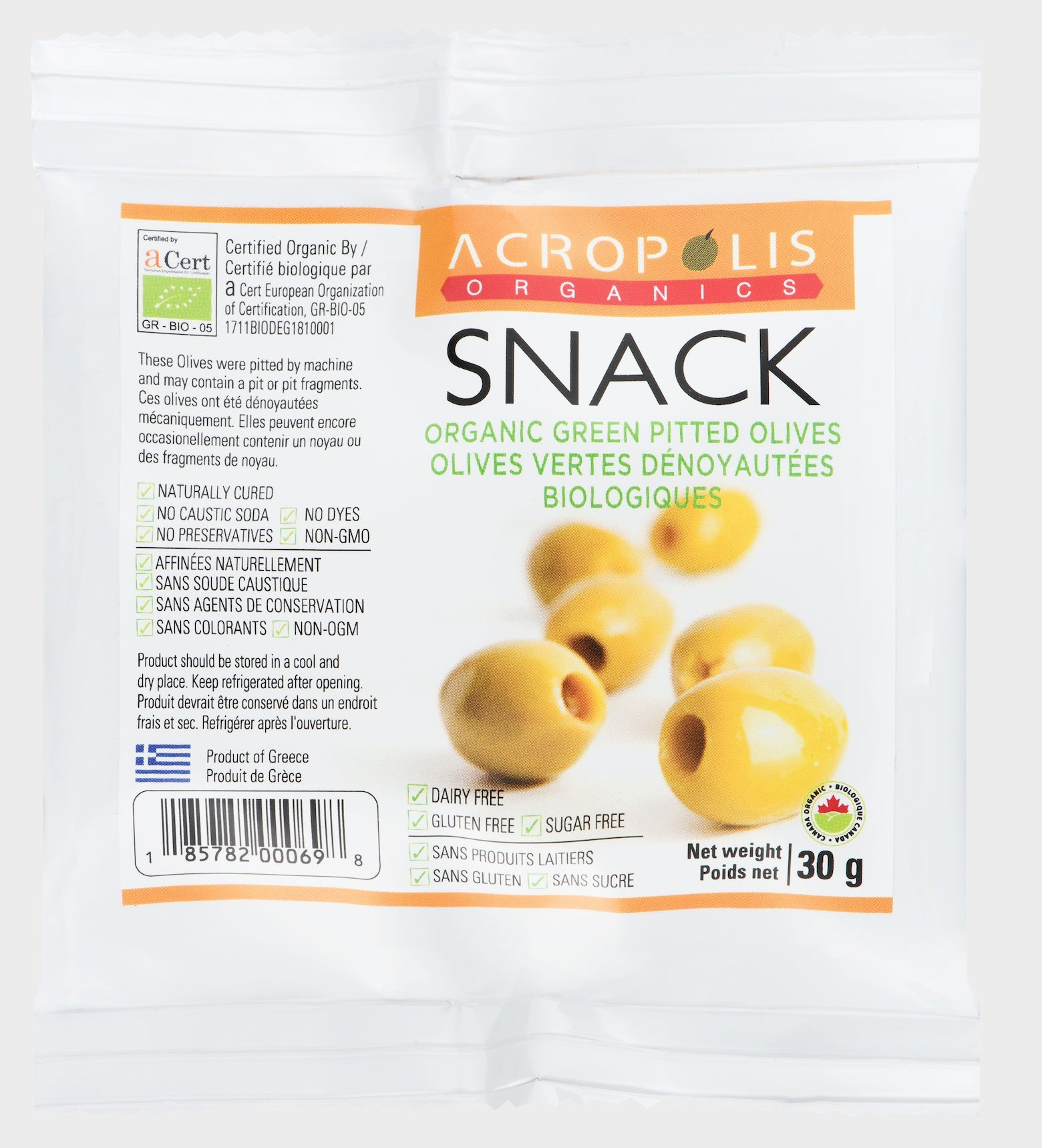 Food & Drink - Acropolis Organics - Organic Green Pitted Olives, 30g