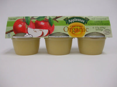 Food & Drink - Applesnax - Organic Unsweetened Applesauce, 6x113g