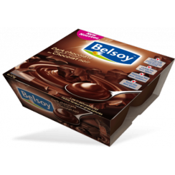 Food & Drink - Belsoy - Creamy Dark Chocolate Pudding, 4x125g
