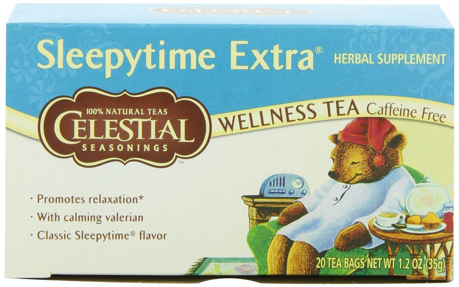 Food & Drink - Celestial Seasonings - Sleepytime Extra Wellness Decaf Tea, 20 Bags