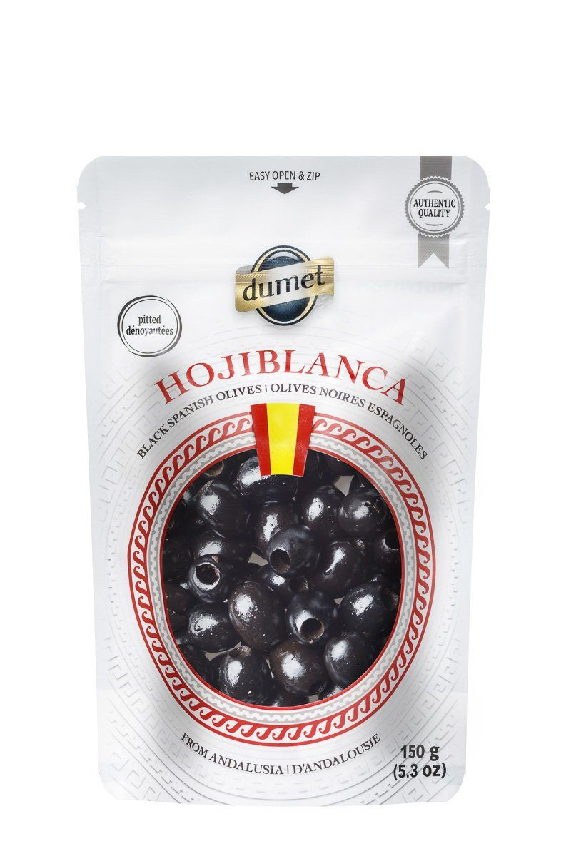 Food & Drink - Dumet - Hojiblanca Spanish Black Pitted Olives, 150g