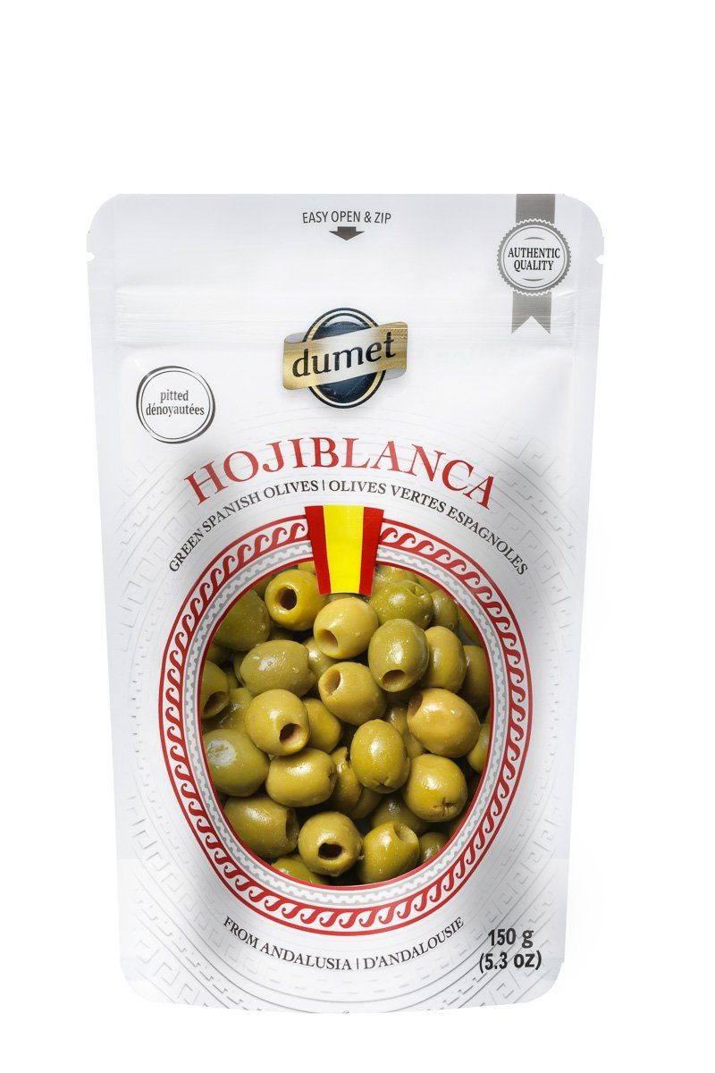 Food & Drink - Dumet - Hojiblanca Spanish Green Pitted Olives, 150g