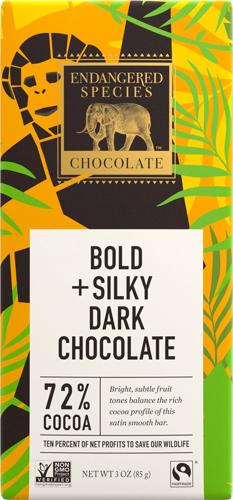 Food & Drink - Endangered Species Chocolate - Dark Chocolate 72% Cocoa, 85g