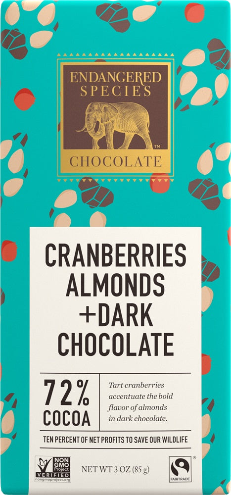 Food & Drink - Endangered Species Chocolate - Dark Chocolate With Cranberries & Almonds, 85g