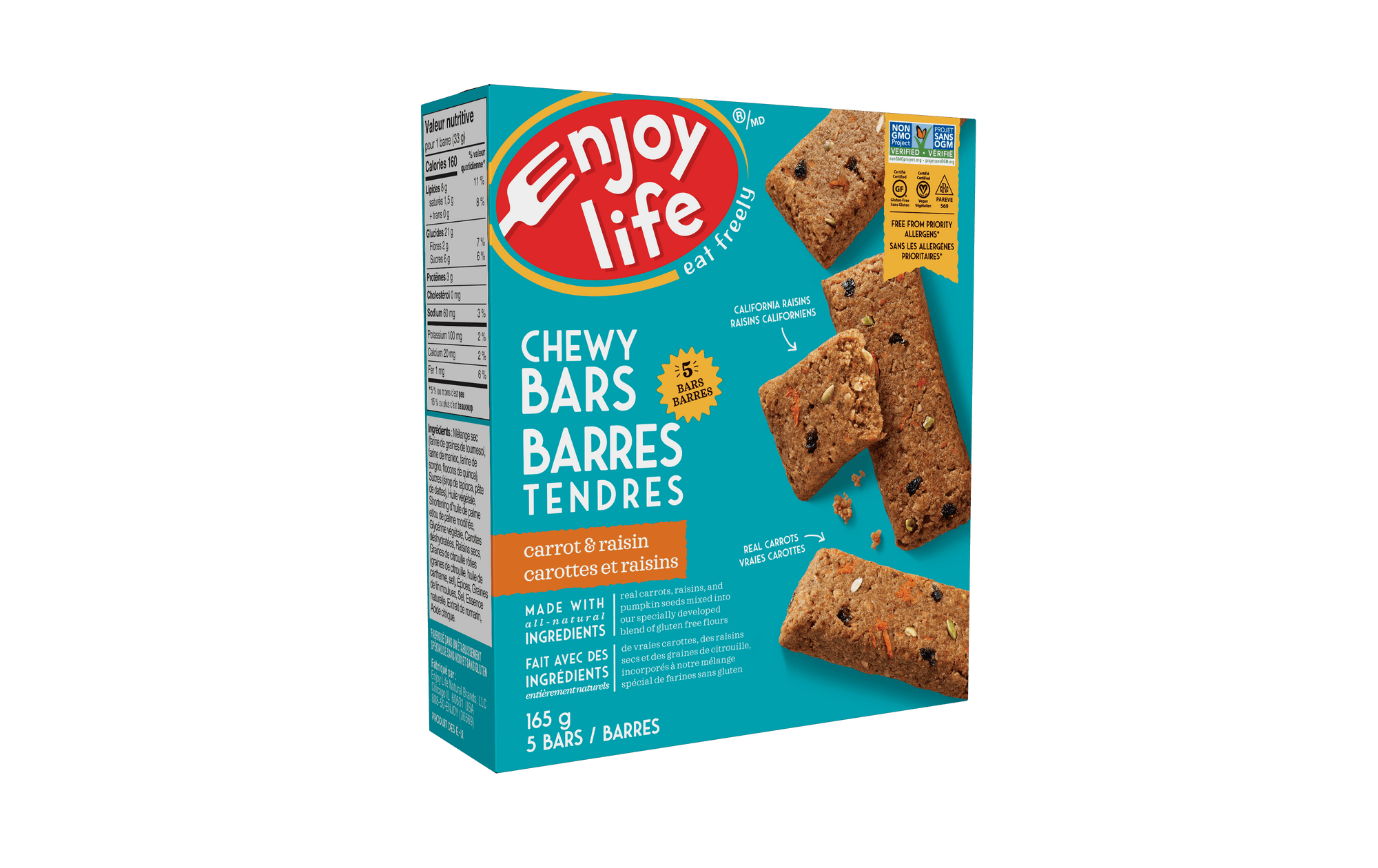Food & Drink - Enjoy Life - Baked Chewy Bars - Carrot & Raisin - 165G