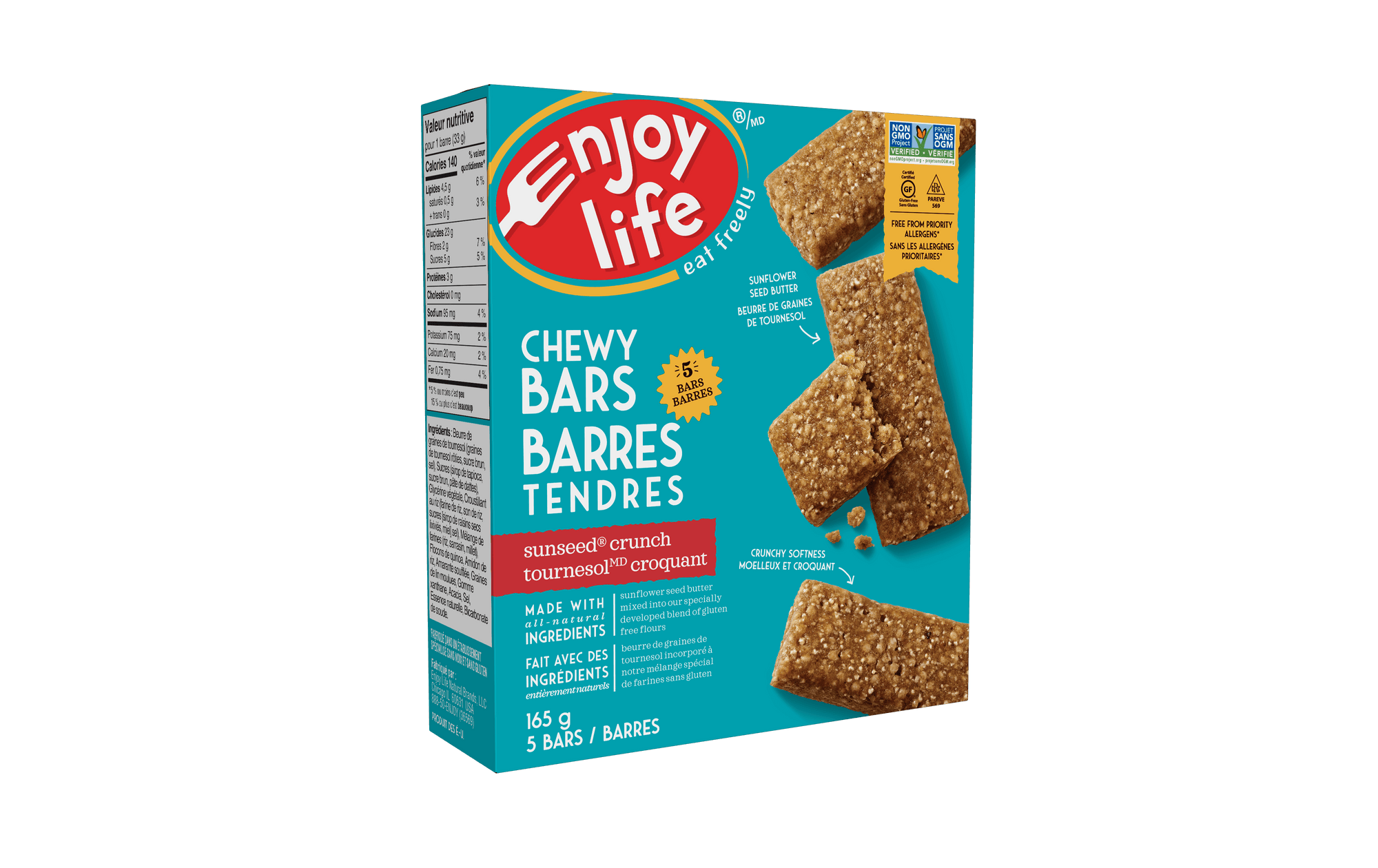 Food & Drink - Enjoy Life - Baked Chewy Bars - Sunseed Crunch, 165g