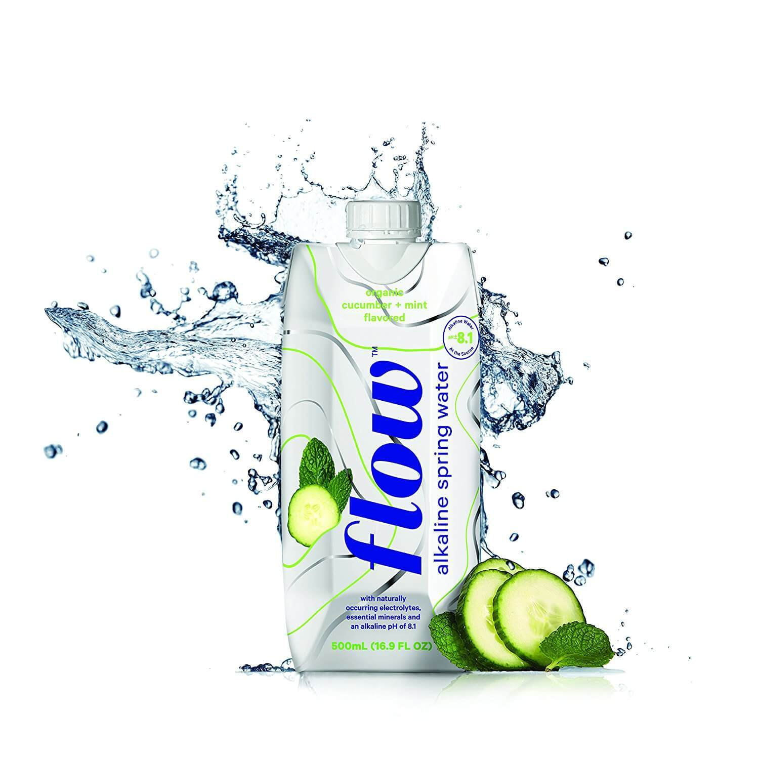 Food & Drink - Flow - Organic Cucumber + Mint Alkaline Water, 500ml