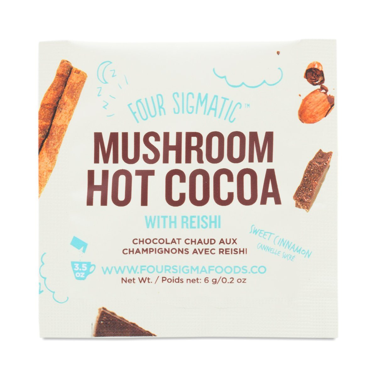 Food & Drink - Four Sigma Foods Mushroom Hot Cacao With Reishi - Sachet 6g