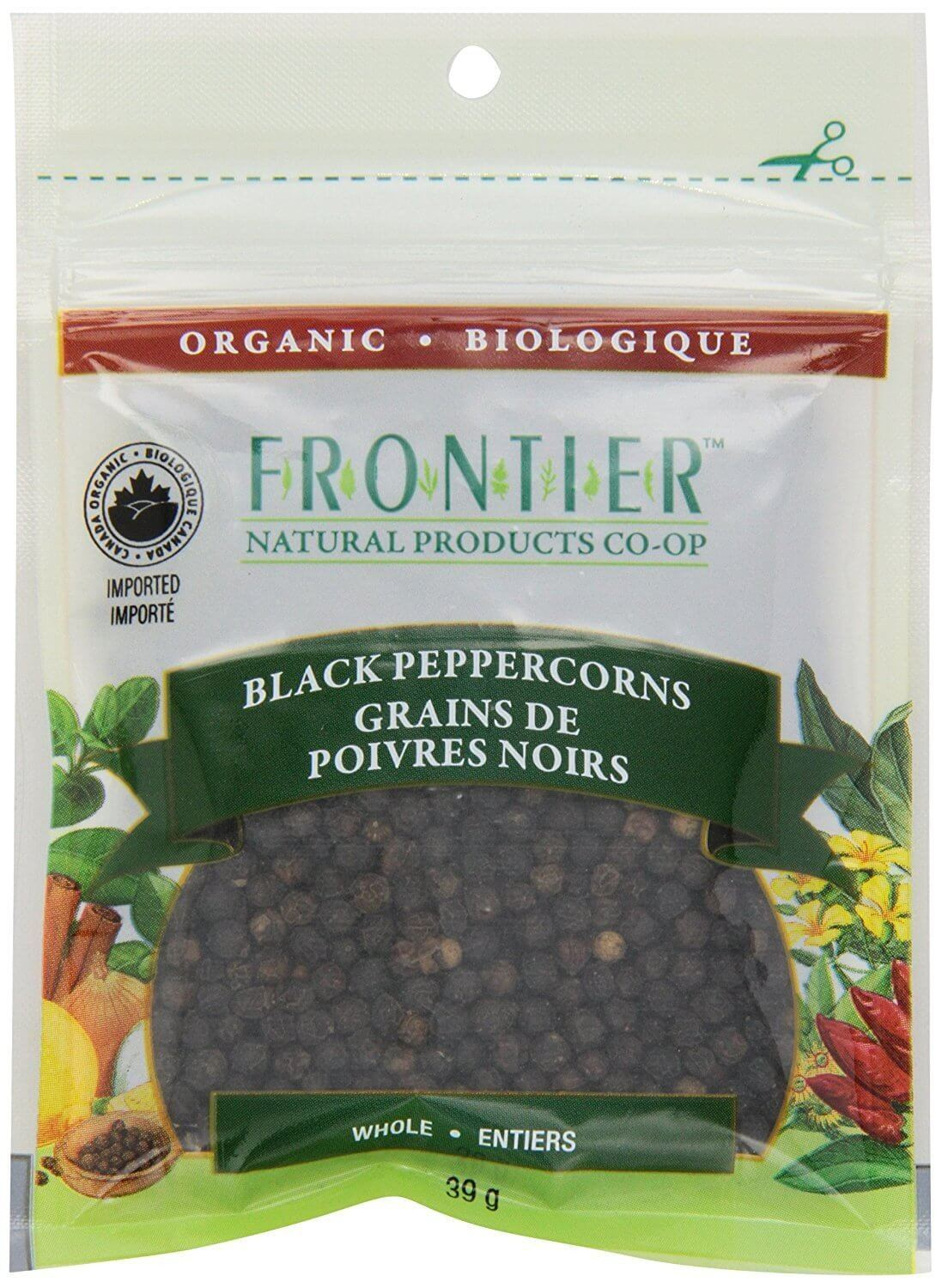 Food & Drink - Frontier Co-Op - Organic Whole Black Peppercorns, 39g