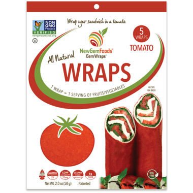 GemWraps - All Natural Wraps - Tomato, 5 Count