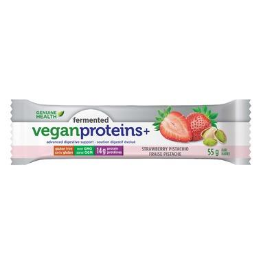 Food & Drink - Genuine Health Fermented Vegan Proteins+ Bar - Strawberry Pistachio  55g