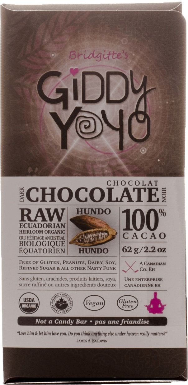 Food & Drink - Giddy Yoyo - 100% Raw Dark Chocolate, 62g