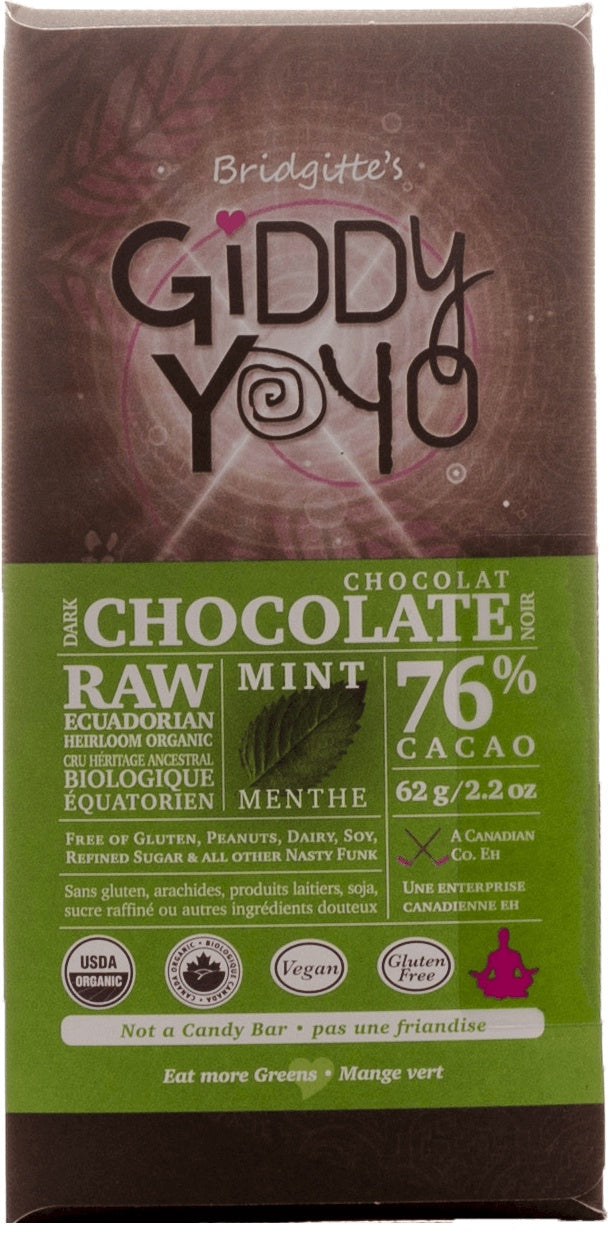 Food & Drink - Giddy Yoyo - Mint 76% Chocolate Bar, 62g