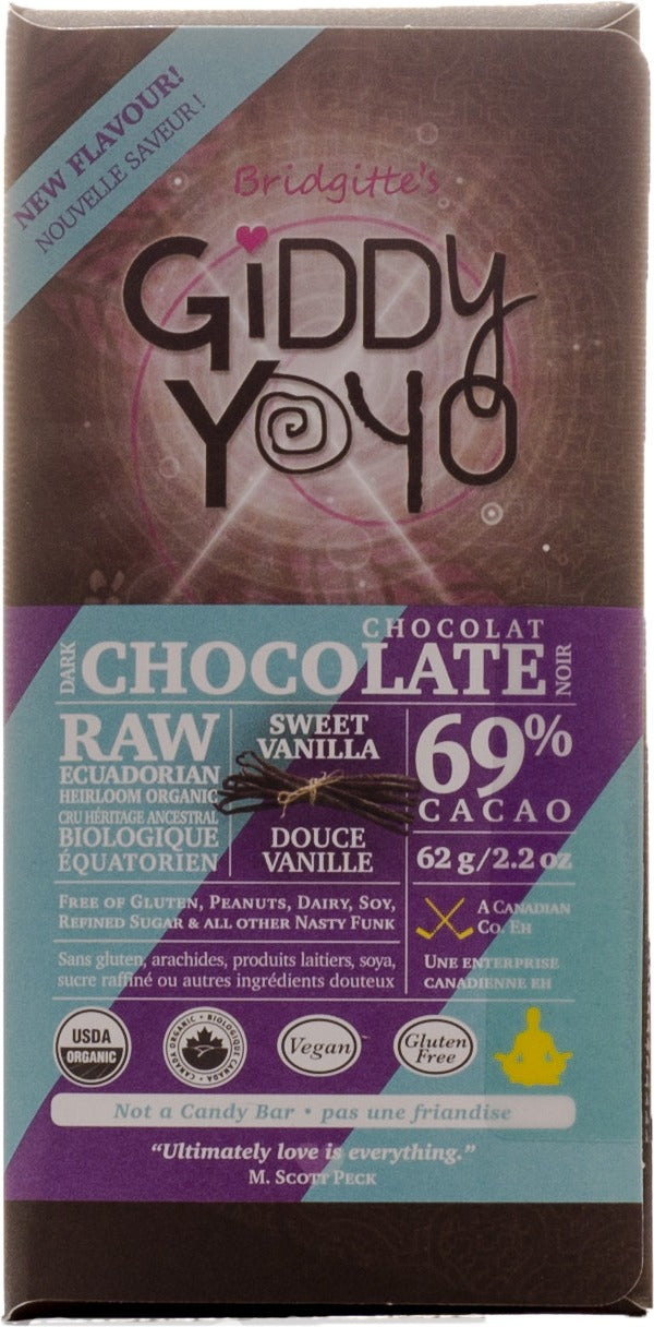 Food & Drink - Giddy Yoyo - Sweet Vanilla 69% Bar - 62g