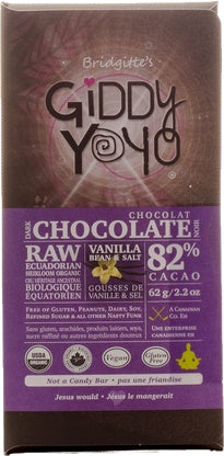 Food & Drink - Giddy Yoyo - Vanilla/salt 82% Chocolate Bar - 62g