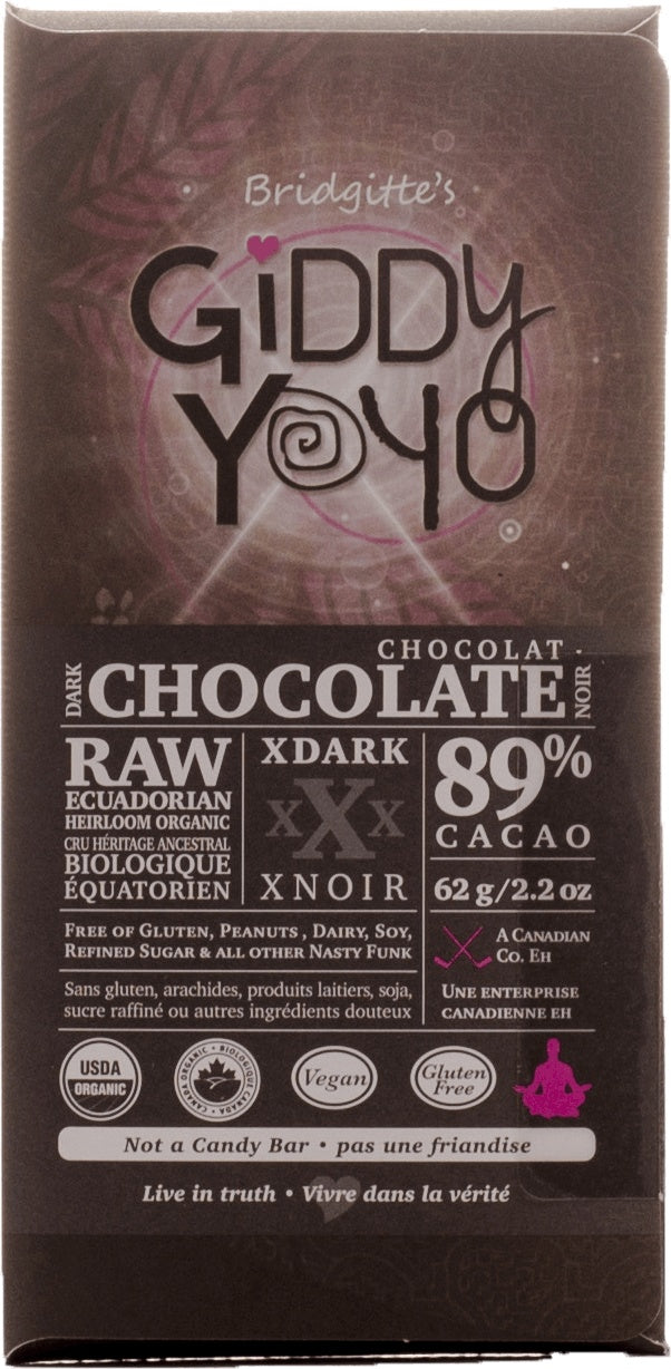 Food & Drink - Giddy Yoyo - Xtra Dark 89% Chocolate Bar, 62g