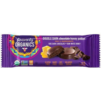Food & Drink - Heavenly Organics - Double Dark Chocolate Honey Patties, 33g