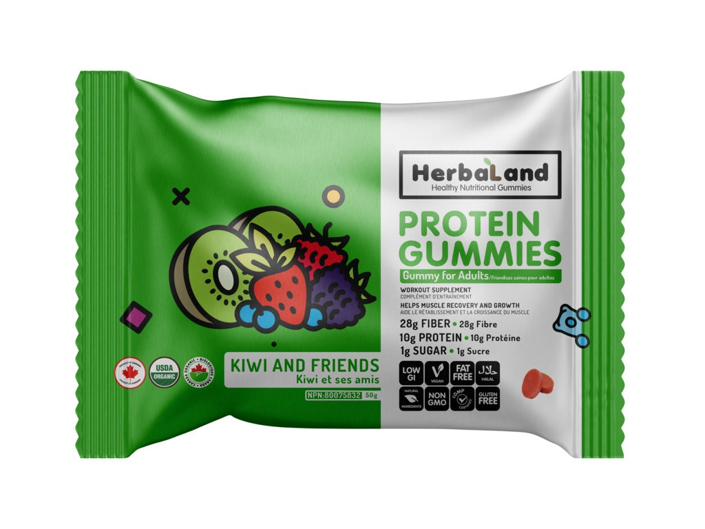 Food & Drink - Herbaland - Vegan Protein Gummies, Kiwi