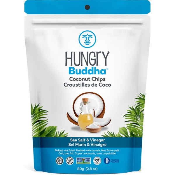 Food & Drink - Hungry Buddha - Sea Salt & Vinegar Coconut Chips, 80g