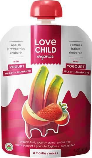 Food & Drink - Love Child - Power Yo'rridge Apple, Strawberries & Rhubarb, 128ml