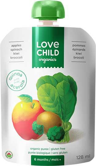 Food & Drink - Love Child - Super Blends- Apples, Spinach, Kiwi, And Broccoli - 128mL
