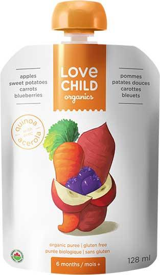 Food & Drink - Love Child - Super Blends- Apples, Sweet Potatoes, Carrots, And Blueberries - 128mL
