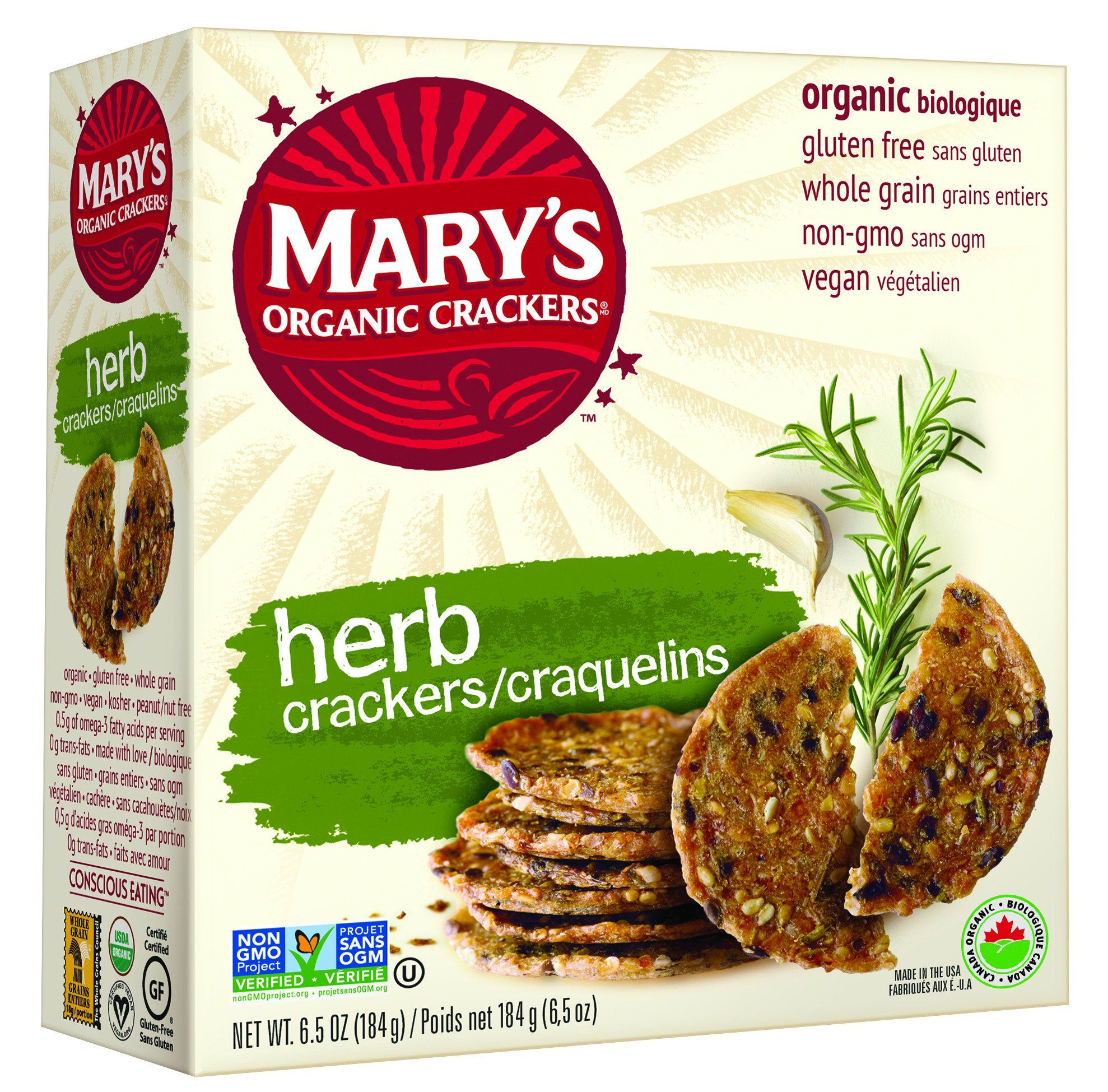 Food & Drink - Mary's Crackers - Organic Herb Crackers, 184g