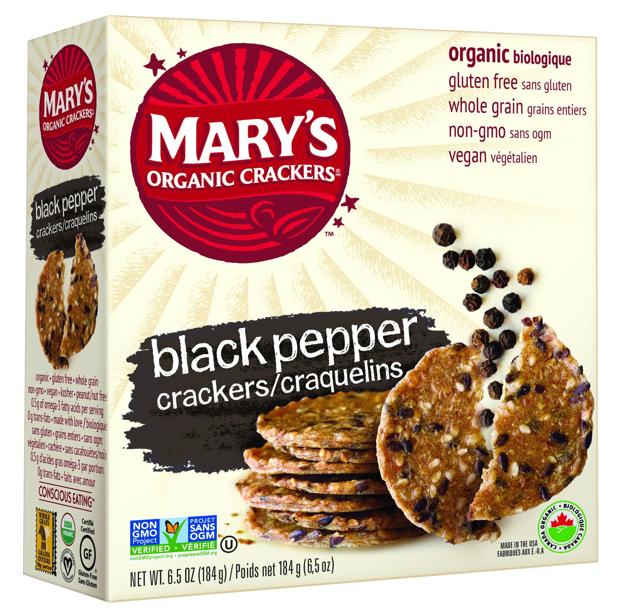 Food & Drink - Mary's Organic - Organic Black Pepper Crackers, 184g