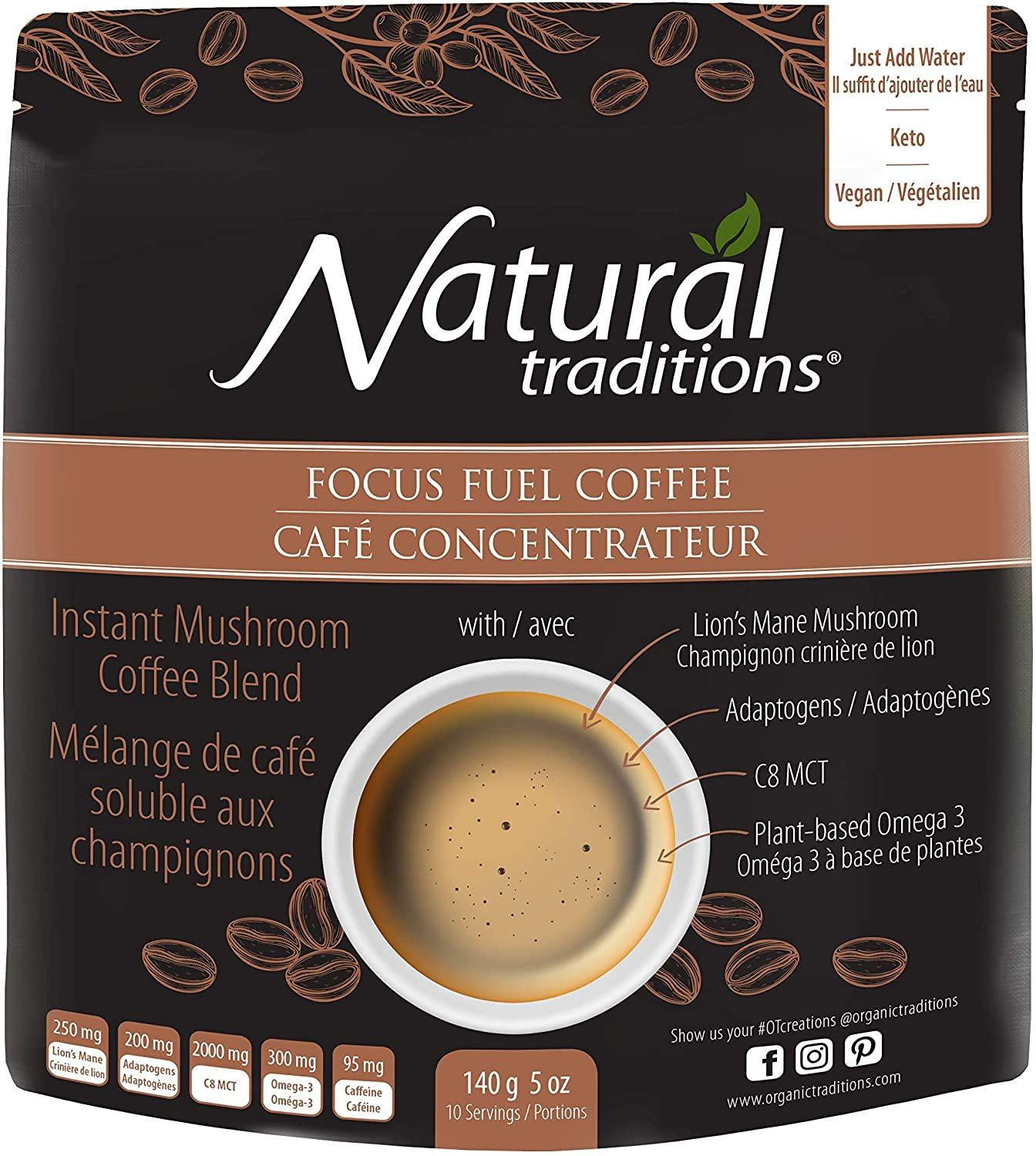 Food & Drink - Natural Traditions - Focus Fuel Coffee, Instant Mushroom Coffee Blend, 140g