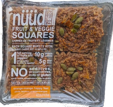 Food & Drink - Nuud Foods - Fruit And Veg Squares - Orange-Mango Happy Feet, 78g