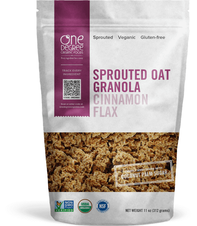 Food & Drink - One Degree - Sprouted Oat Cinnamon Flax Granola, 312g