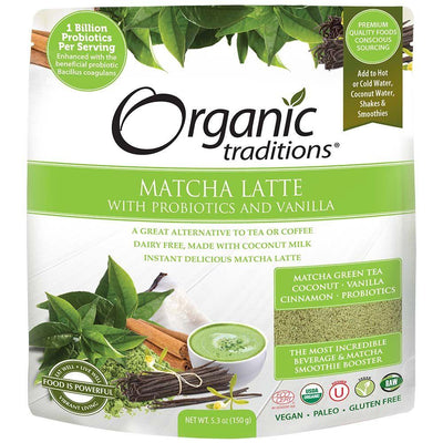 Food & Drink - Organic Traditions - Matcha Latte With Probiotics, 150g