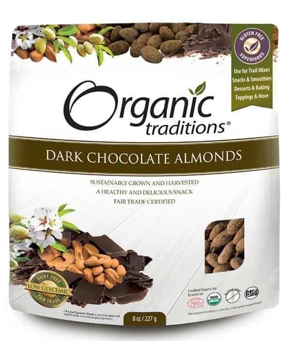 Food & Drink - Organic Traditions - Organic Dark Chocolate Almonds, 227g