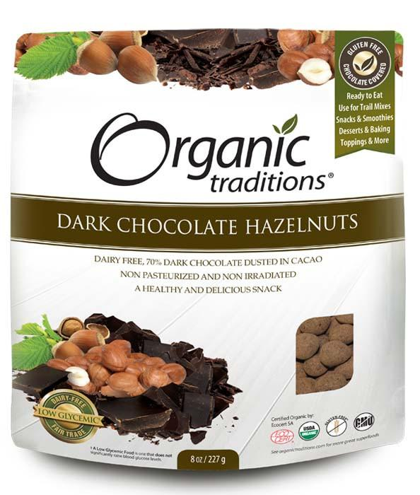 Food & Drink - Organic Traditions - Organic Dark Chocolate Hazelnuts, 227g